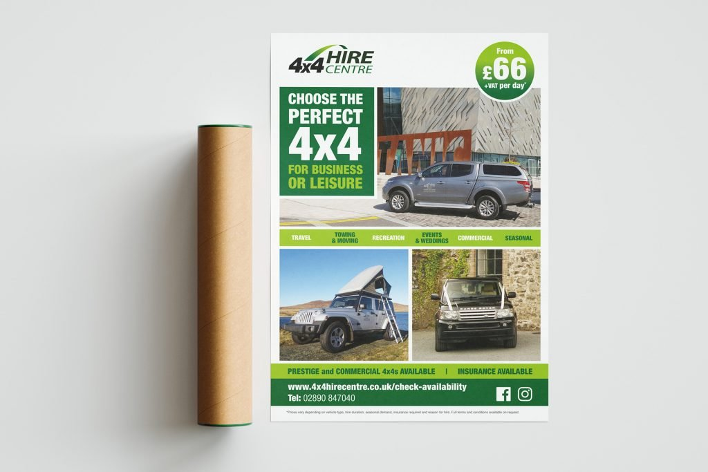 4x4 HIRE Centre A2 Poster MU Freelance Graphic Designer Nottingham Derby Leicester